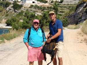 Tom and Marcelo walking on the path to the village of  Pythagoria in Samos
