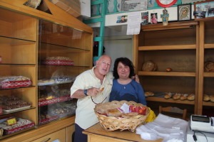 Tom and Bakery Owner.  (Note the empty shells after our purchase.)