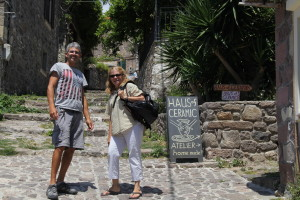 Marcelo and Rita on  side street in beautiful Molivos