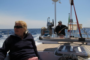 Rita and Tom aboard and underway.