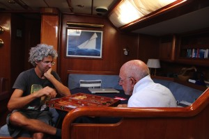 Marcelo and Tom playing Backgammon aboard Pakilar.