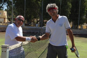 Marcelo and Tom at the Courts in Leros