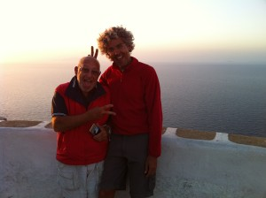Tom and Marcelo at the overlook in Folegandros, Greece