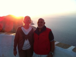 Rita and Tom at overlook at the beginning of the kastro in Folegandros, Greece