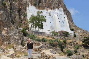 Rita on the steps leading to the Monastery in Amorgos