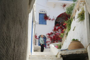 Rita at the end of a lovely street in Isternia on the island of Tinos