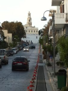Pilgrims' rubber path to crawl to Church of the Annunciation at the top of the hill.