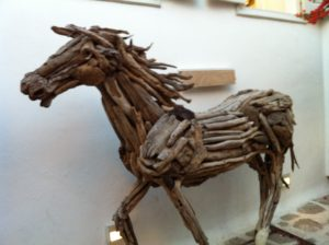 Wooden Horse Scult\pture on the Streets of Mykonos