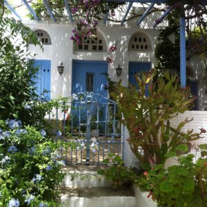 View on the streets of Volax on Tinos