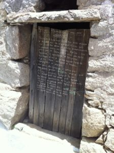 Doorway in Volax...one of many with poetry written in chalk.