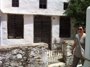 Poetry on doorways in Volax on island of Tinos
