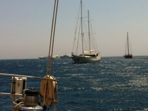 """Mykonos - Ormos Bay - Pakilar and """"Turkish Delight"""" ride out the meltemi."""